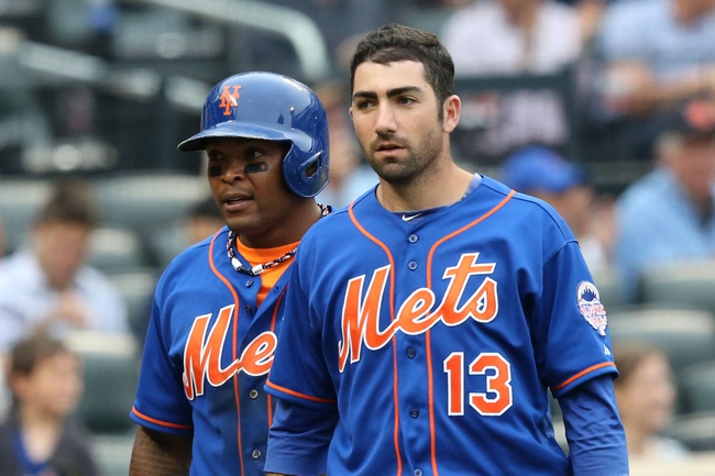Jul 25, 2013; New York, NY, USA;  New York Mets right fielder Marlon Byrd (6) and first baseman Josh Satin (13) head to the dugout after scoring during the third inning against the Atlanta Braves at Citi Field. Mandatory Credit: Anthony Gruppuso-USA TODAY Sports