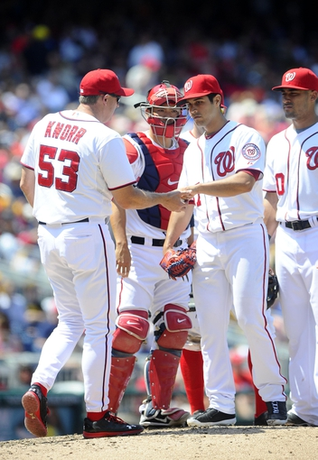 Jul 25, 2013; Washington, DC, USA; Washington Nationals starting pitcher Gio Gonzalez (47) is removed from the game by coach Randy Knorr during the sixth inning against the Pittsburgh Pirates at Nationals Park. Mandatory Credit: Brad Mills-USA TODAY Sports