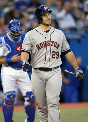 Jul 25, 2013; Toronto, Ontario, CAN; Houston Astros first baseman Brett Wallace (29) reacts after striking out in the fifth inning against the Toronto Blue Jays at Rogers Centre. The Blue Jays beat the Astros 4-0. Mandatory Credit: Tom Szczerbowski-USA TODAY Sports