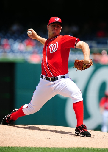Jul 26, 2013; Washington, DC, USA; Washington Nationals pitcher Jordan Zimmermann (27) throws a pitch in the first inning against the New York Mets at Nationals Park. Mandatory Credit: Evan Habeeb-USA TODAY Sports