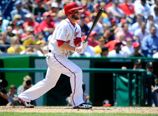 Jul 25, 2013; Washington, DC, USA; Washington Nationals outfielder Bryce Harper (34) bats during the game against the Pittsburg Pirates at Nationals Park. Mandatory Credit: Brad Mills-USA TODAY Sports