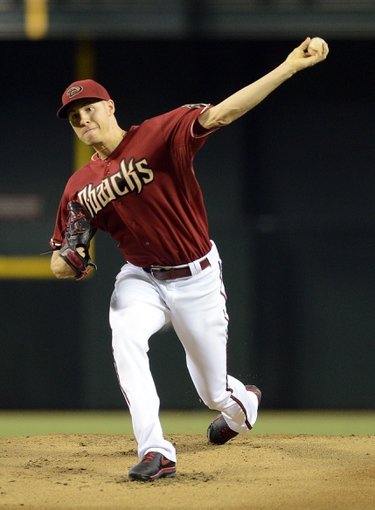Jul 28, 2013; Phoenix, AZ, USA; Arizona Diamondbacks pitcher Patrick Corbin (46) pitches against the San Diego Padres in the first inning at Chase Field.  Mandatory Credit: Jennifer Stewart-USA TODAY Sports