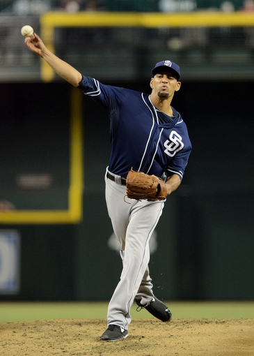 Jul 28, 2013; Phoenix, AZ, USA; San Diego Padres pitcher Tyson Ross (38) pitches against the Arizona Diamondbacks in the first inning at Chase Field. Mandatory Credit: Jennifer Stewart-USA TODAY Sports