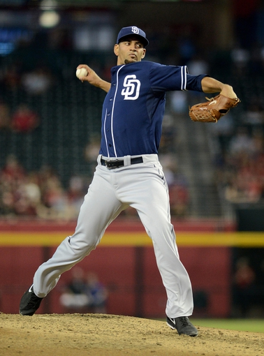 Jul 28, 2013; Phoenix, AZ, USA; San Diego Padres pitcher Tyson Ross (38) pitches against the Arizona Diamondbacks in the second inning at Chase Field. Mandatory Credit: Jennifer Stewart-USA TODAY Sports