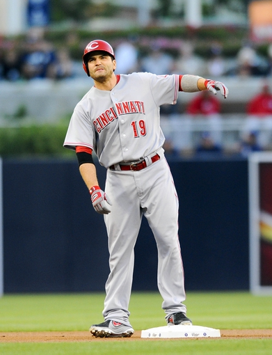 Jul 29, 2013; San Diego, CA, USA; Cincinnati Reds first baseman Joey Votto (19) on second base after a double during the first inning against the San Diego Padres at Petco Park. . Mandatory Credit: Christopher Hanewinckel-USA TODAY Sports