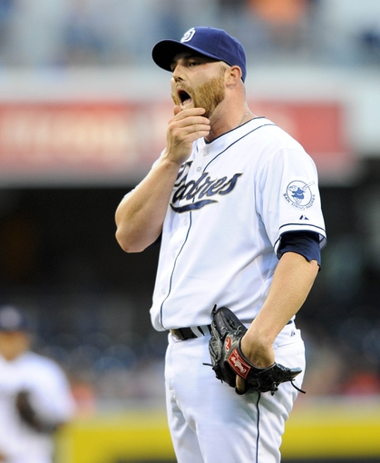 Jul 29, 2013; San Diego, CA, USA; San Diego Padres starting pitcher Sean O'Sullivan (59) after walking the bases loaded during the first inning against the Cincinnati Reds at Petco Park. . Mandatory Credit: Christopher Hanewinckel-USA TODAY Sports