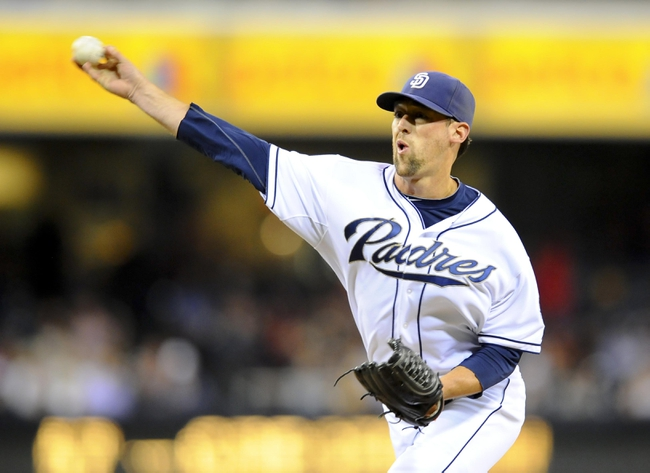 Jul 29, 2013; San Diego, CA, USA; San Diego Padres relief pitcher Luke Gregerson (57) throws during the ninth inning against the Cincinnati Reds at Petco Park. . Mandatory Credit: Christopher Hanewinckel-USA TODAY Sports