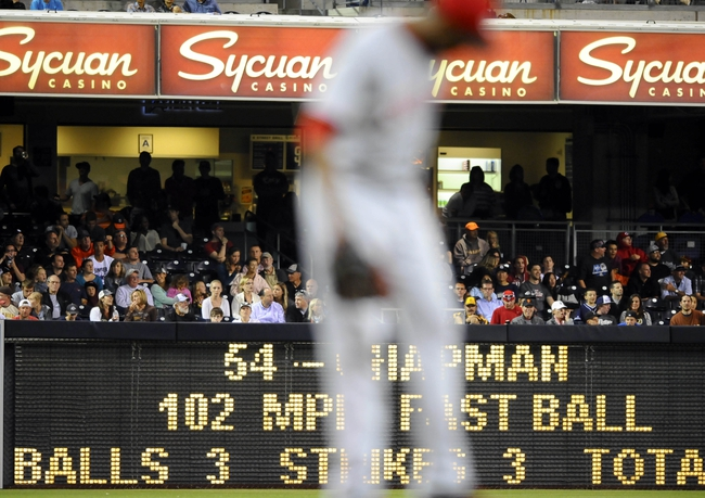 Jul 29, 2013; San Diego, CA, USA; General view of the score board after a 102 mph pitch by Cincinnati Reds relief pitcher pitcher Aroldis Chapman (54) throws during the ninth inning against the San Diego Padres at Petco Park. The Reds lost 2-1. Mandatory Credit: Christopher Hanewinckel-USA TODAY Sports