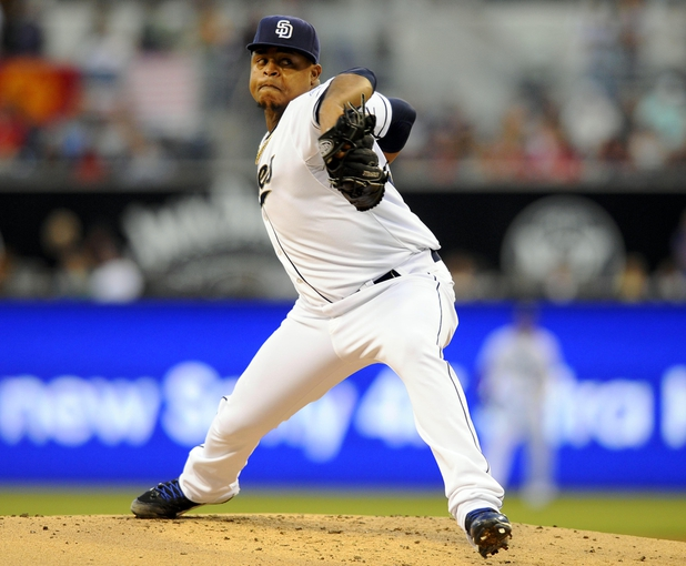 Jul 30, 2013; San Diego, CA, USA; San Diego Padres starting pitcher Edinson Volquez (37) during the second inning against the Cincinnati Reds at Petco Park. Mandatory Credit: Christopher Hanewinckel-USA TODAY Sports