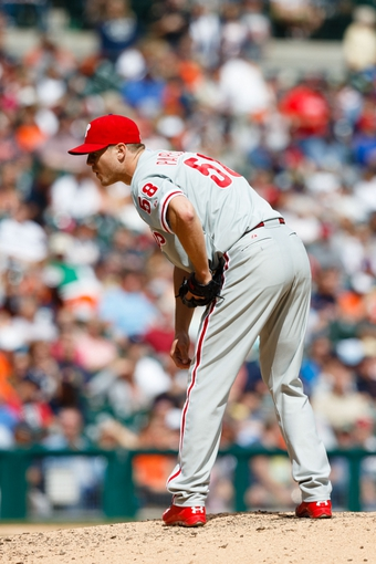 Jul 28, 2013; Detroit, MI, USA; Philadelphia Phillies relief pitcher Jonathan Papelbon (58) pitches in the eighth inning against the Detroit Tigers at Comerica Park. Detroit won 12-4. Mandatory Credit: Rick Osentoski-USA TODAY Sports