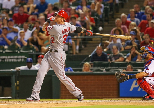 Jul 30, 2013; Arlington, TX, USA; Los Angeles Angels designated hitter Josh Hamilton (32) bats during the game against the Texas Rangers at Rangers Ballpark in Arlington. Texas won 14-11.  Mandatory Credit: Kevin Jairaj-USA TODAY Sports