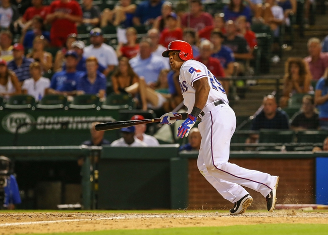 Jul 30, 2013; Arlington, TX, USA; Texas Rangers third baseman Adrian Beltre (29) bats during the game against the Los Angeles Angels at Rangers Ballpark in Arlington. Texas won 14-11.  Mandatory Credit: Kevin Jairaj-USA TODAY Sports