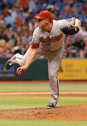 Jul 30, 2013; St. Petersburg, FL, USA; Arizona Diamondbacks relief pitcher Will Harris (38) throws a pitch against the Tampa Bay Rays at Tropicana Field. Mandatory Credit: Kim Klement-USA TODAY Sports