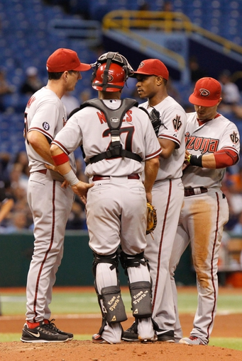 Jul 30, 2013; St. Petersburg, FL, USA; Arizona Diamondbacks relief pitcher Tony Sipp (49) talks with pitching coach Charles Nagy (50) and catcher Wil Nieves (27) on the mound during the seventh inning against the Tampa Bay Rays at Tropicana Field. Mandatory Credit: Kim Klement-USA TODAY Sports