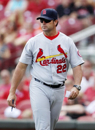 Aug 4, 2013; Cincinnati, OH, USA; St. Louis Cardinals manager Mike Matheny (22) during the eighth inning against the Cincinnati Reds at Great American Ball Park. The Cardinals defeated the Reds 15-2. Mandatory Credit: Frank Victores-USA TODAY Sports