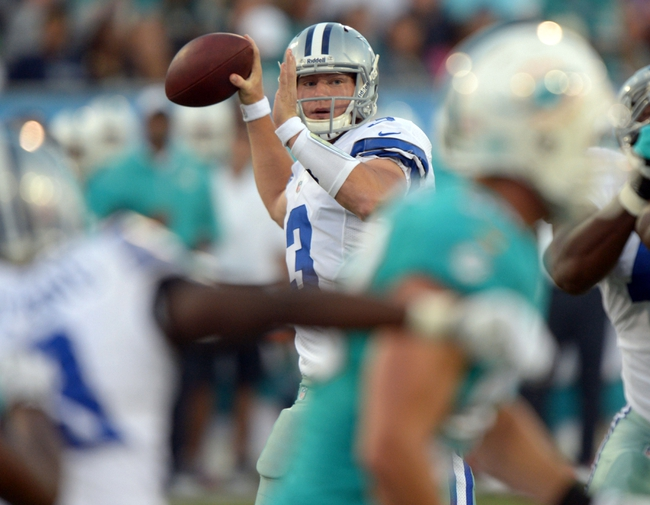 Aug 4, 2013; Canton, OH, USA; Dallas Cowboys quarterback Nick Stephens (3) throws a pass against the Miami Dolphins in the 2013 Hall of Fame Game at Fawcett Stadium.  Mandatory Credit: Kirby Lee-USA TODAY Sports