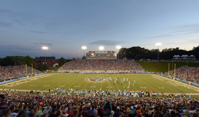 Aug 4, 2013; Canton, OH, USA; General view of the 2013 Hall of Fame Game between the Dallas Cowboys and the Miami Dolphins at Fawcett Stadium.  Mandatory Credit: Kirby Lee-USA TODAY Sports