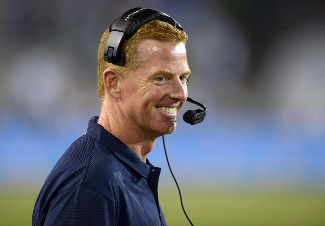 Aug 4, 2013; Canton, OH, USA; Dallas Cowboys coach Jason Garrett during the 2013 Hall of Fame Game against the Miami Dolphins at Fawcett Stadium. The Cowboys defeated the Dolphins 24-20.  Mandatory Credit: Kirby Lee-USA TODAY Sports