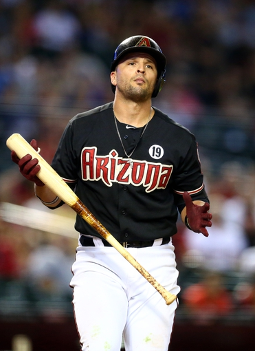 Jul. 9, 2013; Phoenix, AZ, USA: Arizona Diamondbacks third baseman Martin Prado against the Los Angeles Dodgers at Chase Field. Mandatory Credit: Mark J. Rebilas-USA TODAY Sports