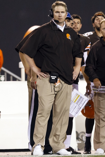 Aug 8, 2013; Cleveland, OH, USA; Cleveland Browns head coach Rob Chudzinski on the sideline in the second half against the St. Louis Rams at FirstEnergy Stadium. Mandatory Credit: Rick Osentoski-USA TODAY Sports