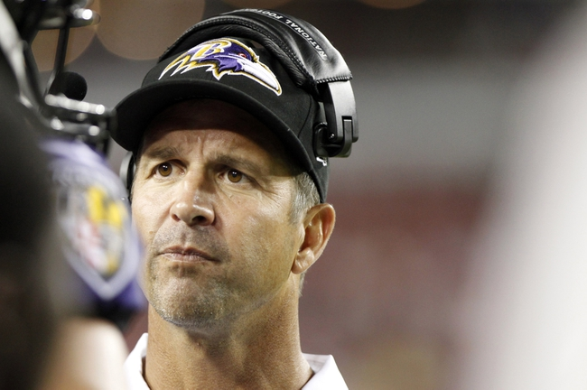 Aug 8, 2013; Tampa, FL, USA; Baltimore Ravens head coach John Harbaugh during the second half against the Tampa Bay Buccaneers at Raymond James Stadium. Mandatory Credit: Kim Klement-USA TODAY Sports