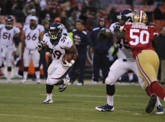 Aug 8, 2013; San Francisco, CA, USA; Denver Broncos running back C.J. Anderson (39) carries the ball against the San Francisco 49ers during the third quarter at Candlestick Park. The Denver Broncos defeated the San Francisco 49ers 10-6. Mandatory Credit: Kelley L Cox-USA TODAY Sports