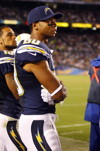 Aug 8, 2013; San Diego, CA, USA; San Diego Chargers wide receiver Malcom Floyd (80) during a game against the Seattle Seahawks at Qualcomm Stadium. Mandatory Credit: Jody Gomez-USA TODAY Sports