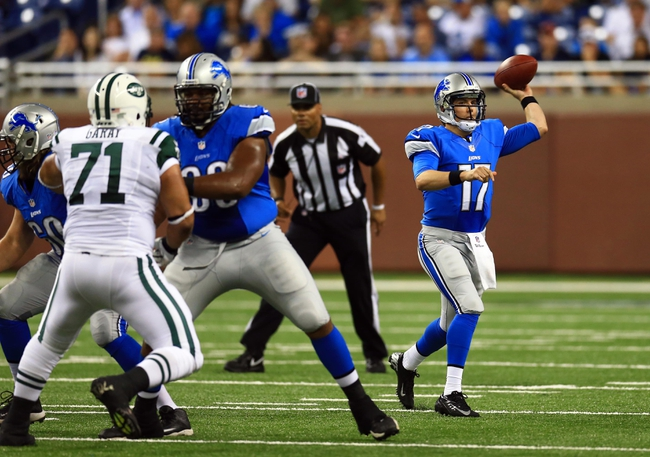 Aug 9, 2013; Detroit, MI, USA; Detroit Lions quarterback Kellen Moore (17) throws a pass in the third quarter of a preseason game against the New York Jets at Ford Field. Mandatory Credit: Andrew Weber-USA TODAY Sports