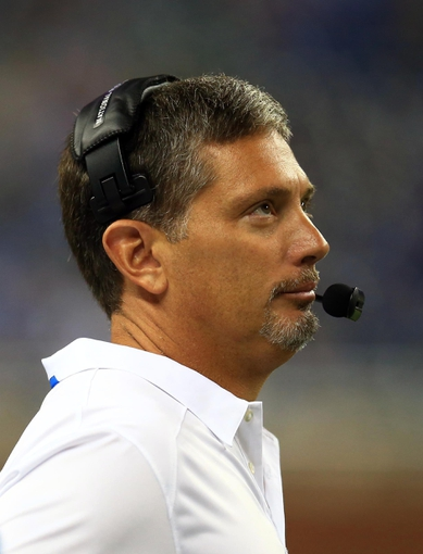 Aug 9, 2013; Detroit, MI, USA; Detroit Lions head coach Jim Schwartz on the sidelines in the fourth quarter of a preseason game against the New York Jets at Ford Field. Mandatory Credit: Andrew Weber-USA TODAY Sports