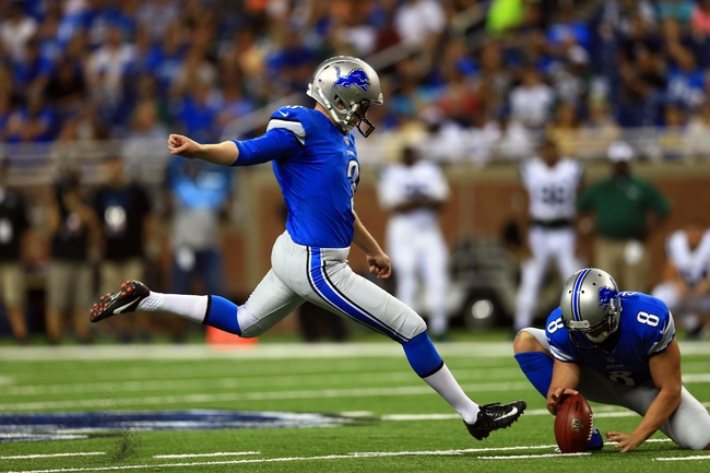 Aug 9, 2013; Detroit, MI, USA; Detroit Lions kicker Havard Rugland (3) kicks a field goal in the third quarter of a preseason game against the New York Jets at Ford Field. Mandatory Credit: Andrew Weber-USA TODAY Sports