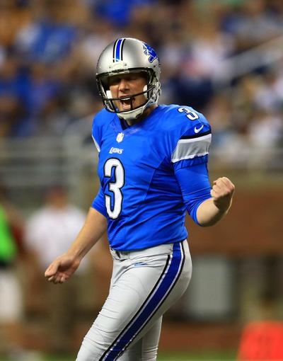 Aug 9, 2013; Detroit, MI, USA; Detroit Lions kicker Havard Rugland (3) celebrates after making his first career field goal in the third quarter of a preseason game against the New York Jets at Ford Field. Mandatory Credit: Andrew Weber-USA TODAY Sports