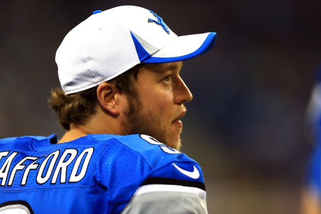 Aug 9, 2013; Detroit, MI, USA; Detroit Lions quarterback Matthew Stafford (9) on the sidelines in the fourth quarter of a preseason game against the New York Jets at Ford Field. Mandatory Credit: Andrew Weber-USA TODAY Sports
