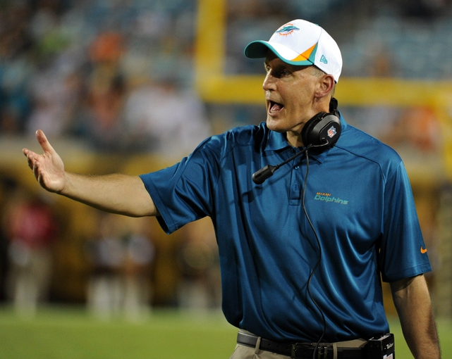 Aug 9, 2013; Jacksonville, FL, USA; Miami Dolphins head coach Joe Philbin during the game against the Jacksonville Jaguars at Everbank Field. Mandatory Credit: Melina Vastola-USA TODAY Sports