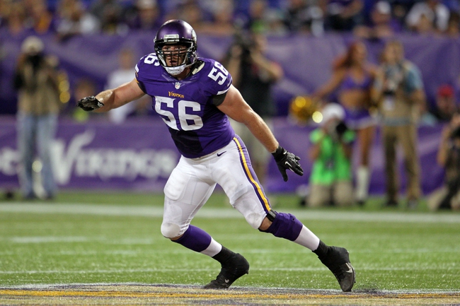 Aug 9, 2013; Minneapolis, MN, USA; Minnesota Vikings inside linebacker Michael Mauti (56) during the fourth quarter against the Houston Texans at the Metrodome. Mandatory Credit: Brace Hemmelgarn-USA TODAY Sports