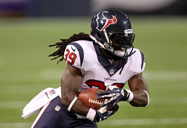 Aug 9, 2013; Minneapolis, MN, USA; Houston Texans running back Deji Karim (39) runs with the ball in the fourth quarter against the Minnesota Vikings at the Metrodome. The Texans won 27-13. Mandatory Credit: Jesse Johnson-USA TODAY Sports