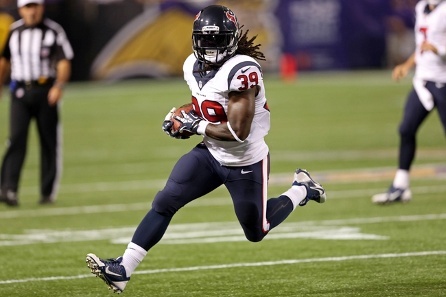 Aug 9, 2013; Minneapolis, MN, USA; Houston Texans running back Deji Karim (39) runs with the ball in the fourth quarter against the Minnesota Vikings at the Metrodome. The Texans won 27-13.Mandatory Credit: Jesse Johnson-USA TODAY Sports