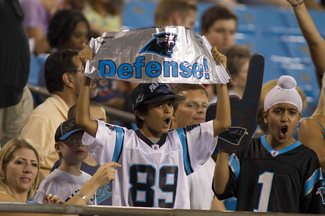 Aug 9, 2013; Charlotte, NC, USA; Carolina Panthers fans cheer during the second half against the Chicago Bears. The Panthers defeated the Bears 24-17. Mandatory Credit: Jeremy Brevard-USA TODAY Sports