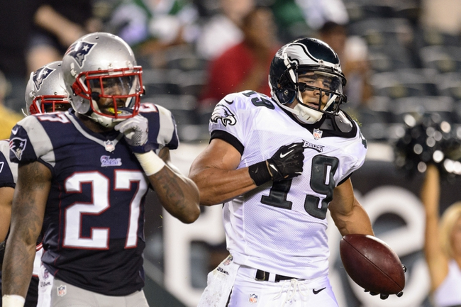 Aug 9, 2013; Philadelphia, PA, USA; Philadelphia Eagles wide receiver Greg Salas (19) celebrates making a big catch late in the fourth quarter against the New England Patriots at Lincoln Financial Field. The Patriots defeated the Eagles 31-22. Mandatory Credit: Howard Smith-USA TODAY Sports
