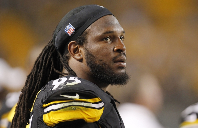 Aug 10, 2013; Pittsburgh, PA, USA; Pittsburgh Steelers linebacker Jarvis Jones (95) looks on from the sidelines against the New York Giants during the fourth quarter at Heinz Field. The New York Giants won 18-13. Mandatory Credit: Charles LeClaire-USA TODAY Sports