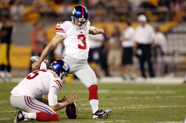 Aug 10, 2013; Pittsburgh, PA, USA; New York Giants kicker Josh Brown (3) kicks a forty seven yard field goal against the Pittsburgh Steelers during the fourth quarter at Heinz Field. The New York Giants won 18-13. Mandatory Credit: Charles LeClaire-USA TODAY Sports