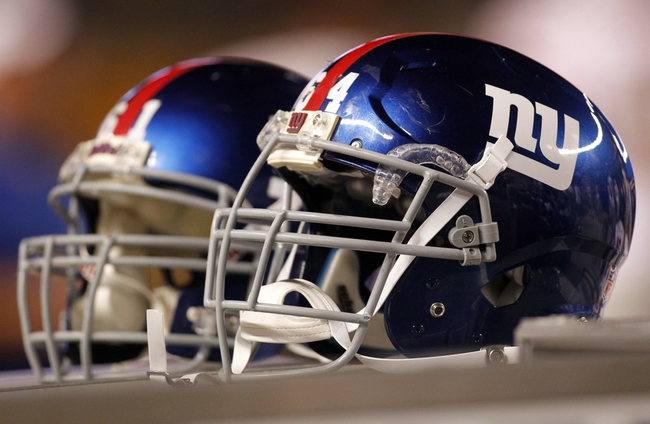 Aug 10, 2013; Pittsburgh, PA, USA; New York Giants helmets on the sidelines against the Pittsburgh Steelers during the fourth quarter at Heinz Field. The New York Giants won 18-13. Mandatory Credit: Charles LeClaire-USA TODAY Sports