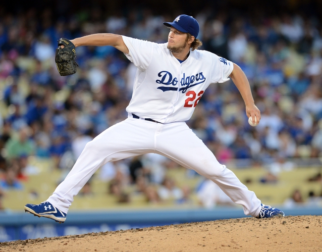 Aug 11, 2013; Los Angeles, CA, USA;   Los Angeles Dodgers starting pitcher Clayton Kershaw (22) in the eighth inning of the game against the Tampa Bay Rays at Dodger Stadium. Mandatory Credit: Jayne Kamin-Oncea-USA TODAY Sports