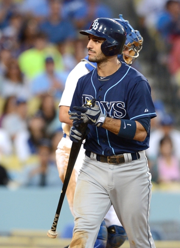 Aug 11, 2013; Los Angeles, CA, USA;    Tampa Bay Rays left fielder Sean Rodriguez (1) walks back to the dugout after a called strike three with the bases loaded in the eighth inning of the game against the Los Angeles Dodgers at Dodger Stadium. Mandatory Credit: Jayne Kamin-Oncea-USA TODAY Sports