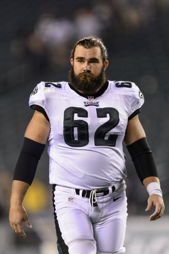 Aug 9, 2013; Philadelphia, PA, USA; Philadelphia Eagles center Jason Kelce (62) after playing the New England Patriots at Lincoln Financial Field. The Patriots defeated the Eagles 31-22. Mandatory Credit: Howard Smith-USA TODAY Sports
