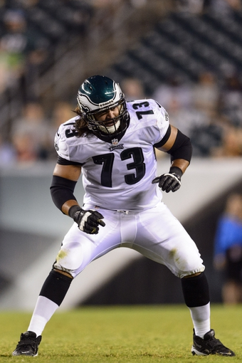 Aug 9, 2013; Philadelphia, PA, USA; Philadelphia Eagles offensive tackle Nic Purcell (73) during the fourth quarter against the New England Patriots at Lincoln Financial Field. The Patriots defeated the Eagles 31-22. Mandatory Credit: Howard Smith-USA TODAY Sports