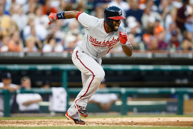Jul 30, 2013; Detroit, MI, USA; Washington Nationals center fielder Denard Span (2) runs towards first against the Detroit Tigers at Comerica Park. Mandatory Credit: Rick Osentoski-USA TODAY Sports