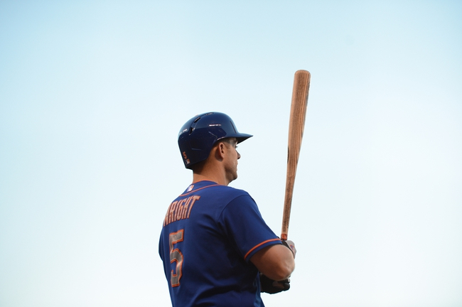 July 9, 2013; San Francisco, CA, USA; New York Mets third baseman David Wright (5) stands on deck during the fourth inning against the San Francisco Giants at AT&T Park. The Mets defeated the Giants 10-6. Mandatory Credit: Kyle Terada-USA TODAY Sports
