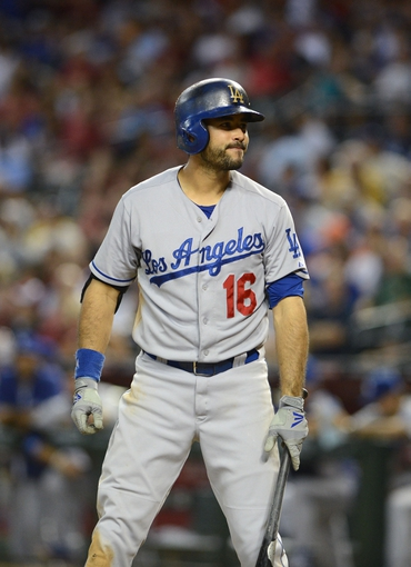 Jul 10, 2013; Phoenix, AZ, USA;  Los Angeles Dodgers outfielder Andre Ethier (16) at bat against the Arizona Diamondbacks at Chase Field.  The Dodgers defeated the Diamondbacks 7-5 in extra innings.  Mandatory Credit: Jennifer Stewart-USA TODAY Sports