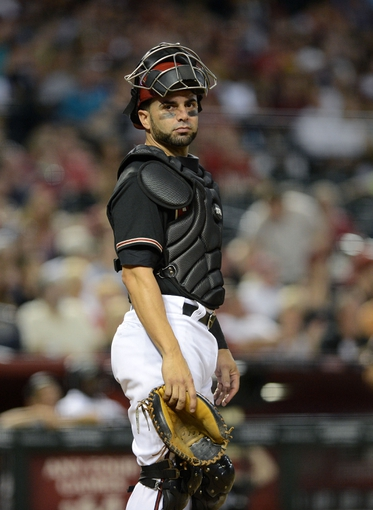 Jul 10, 2013; Phoenix, AZ, USA;  Arizona Diamondbacks catcher Wil Nieves (27) in action during the game against the Los Angeles Dodgers at Chase Field.  The Dodgers defeated the Diamondbacks 7-5 in extra innings.  Mandatory Credit: Jennifer Stewart-USA TODAY Sports