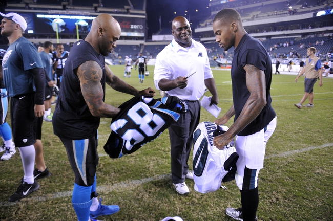 Aug 15, 2013; Philadelphia, PA, USA; Carolina Panthers wide receiver Steve Smith (89) and Philadelphia Eagles wide receiver DeSean Jackson (10) exchange jerseys after the second half at Lincoln Financial Field. The Eagles won the game 14-9. Mandatory Credit: Joe Camporeale-USA TODAY Sports
